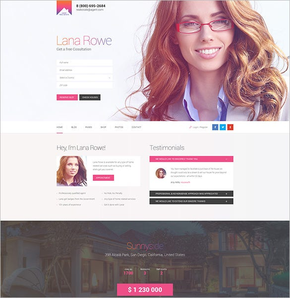 agent single property psd template