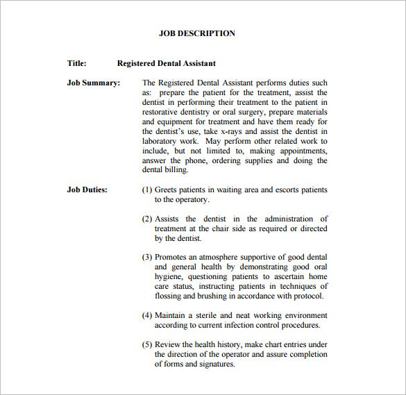registered dental assistant job description free pdf download