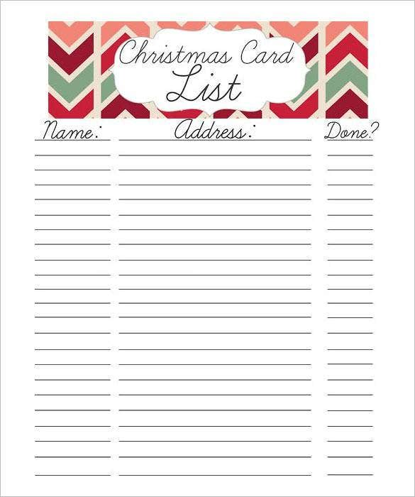 27+ Christmas Gift List Templates - Free Printable Word, PDF, JPEG ...