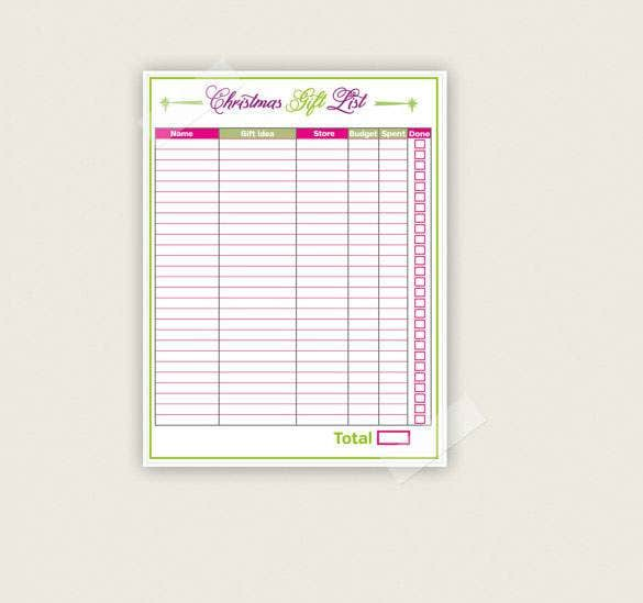 gift list christmas template pdf printable download