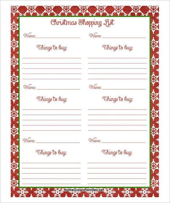 Marvelous Free Christmas Shopping List PDF Download