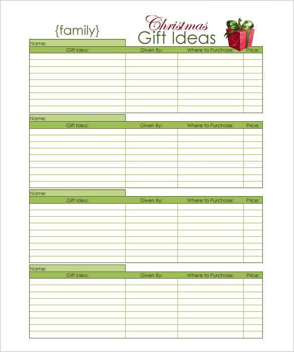 27+ Christmas Gift List Templates - Free Printable Word ...