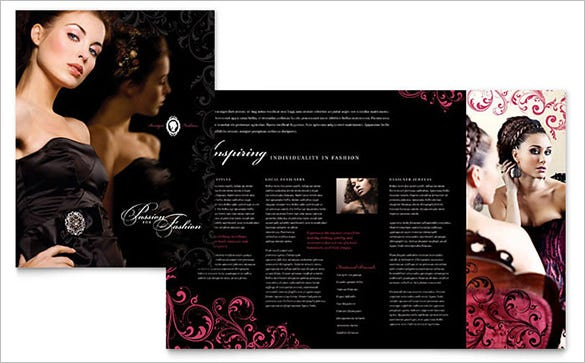 formal fashions jewelry boutique brochure template