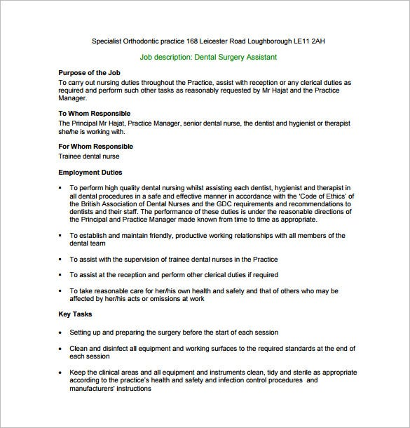 Dental Assistant Job Description Template   Free Word Pdf
