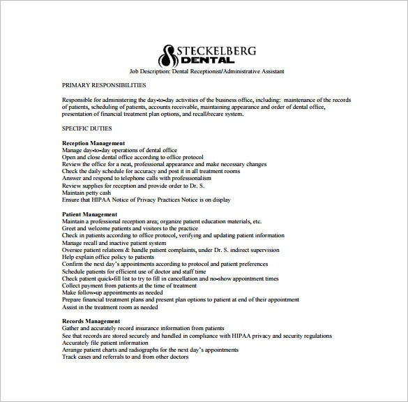 dental administrative assistant job description free pdf template