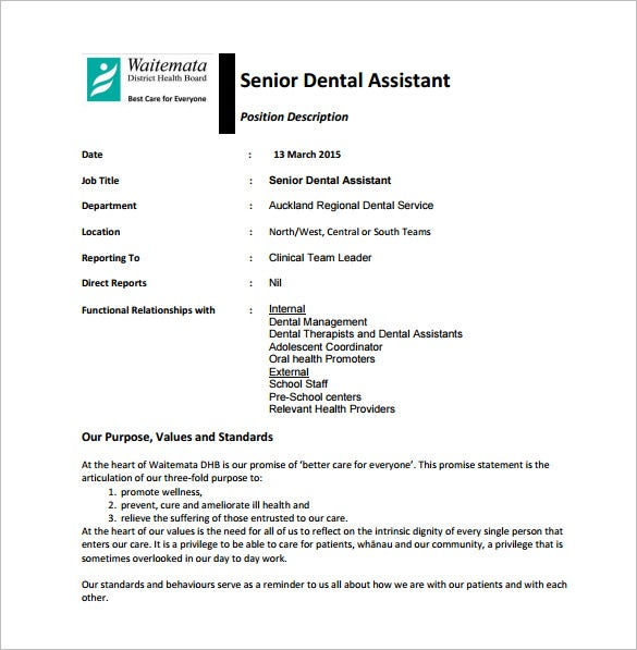 senior dental assistant job description pdf free download