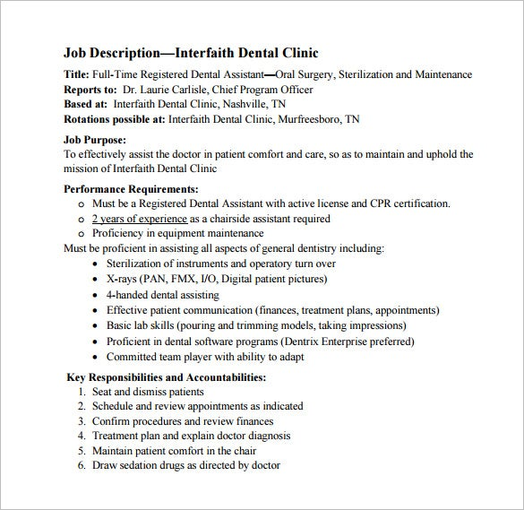 9+ Dental Assistant Job Description Templates – Free Sample ...