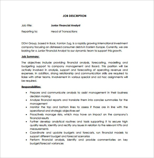 junior financial analyst job description pdf free download