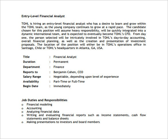 free entry level financial analyst job description pdf download