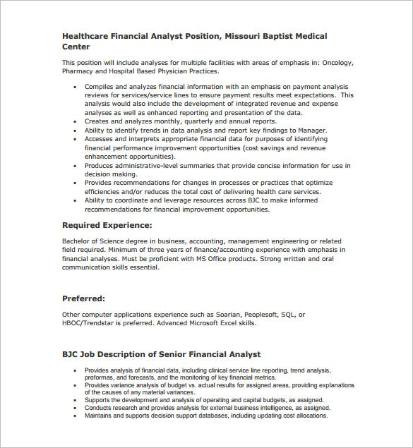 health care financial analyst job description pdf free download