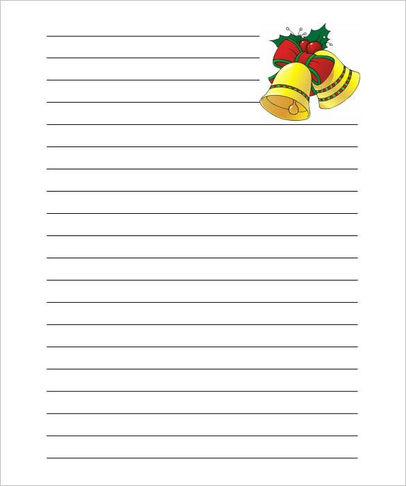 Christmas Bells Writing Paper Lined Template PDF  Lined Stationary Paper