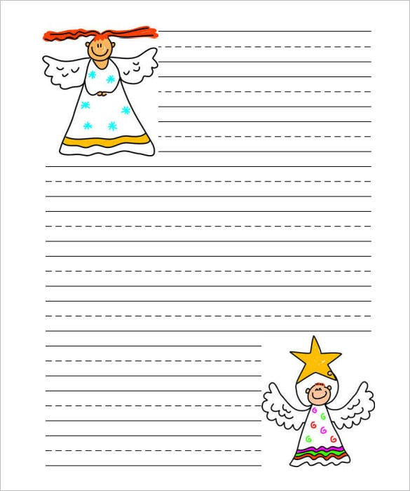 Christmas Angel Writing Paper Handwriting Template  Letter Writing Paper Template