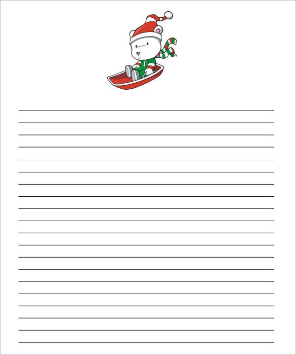 christmas paper templates word pdf jpeg   christmas sled writing paper template