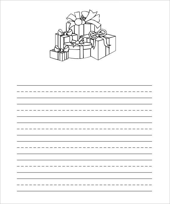 Christmas Gifts Writing Paper PDF Format  Free White Paper Templates
