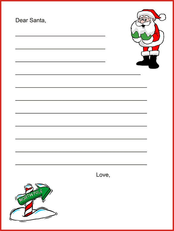 Printable Blank Letter From Santa Template  Microsoft Word Christmas Letter Template