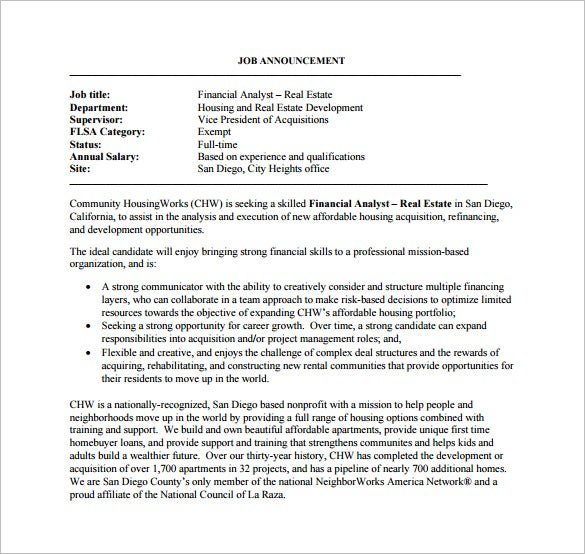 Financial Analyst Job Description Template   Free Word Pdf