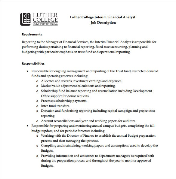 e interim financial analyst job description free pdf template
