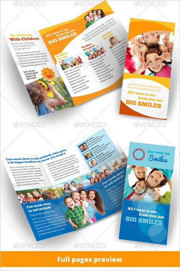 child care kindergarten 3 fold brochure