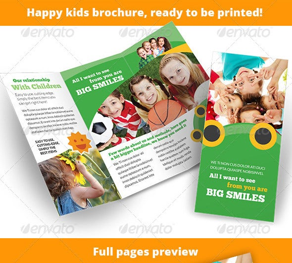 child care happy kids 3 fold brochure