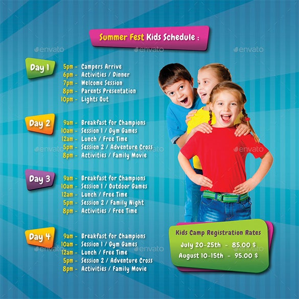 kids summer camp square 3 fold brochure
