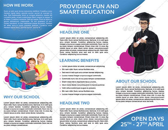 For Promoting The Newly Opened Preschool Kindergarten By You Use This School Promotion Brochure Template In Tri Fold Format To Design An Effective