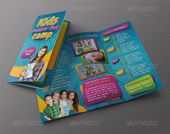 kids summer camp 3 fold brochure