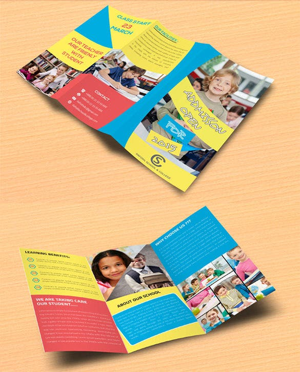 junior school college promotion trifold brochure