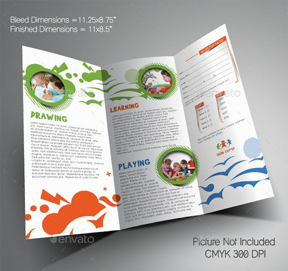 Kindergarten Brochure Templates Free PSD EPS AI InDesign - Tri fold school brochure template