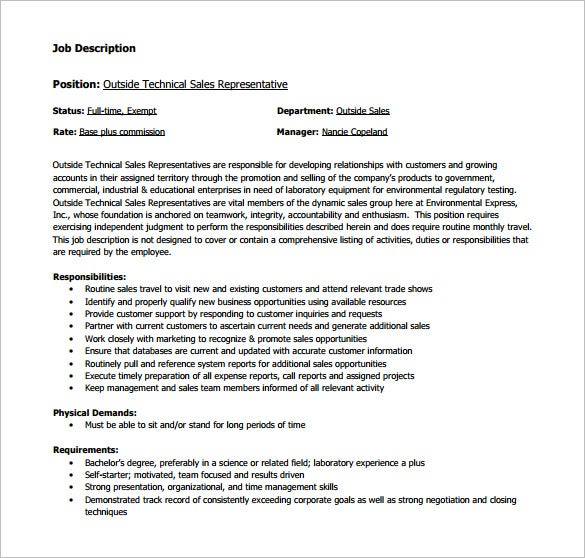 outside technical sales representative job description free pdf