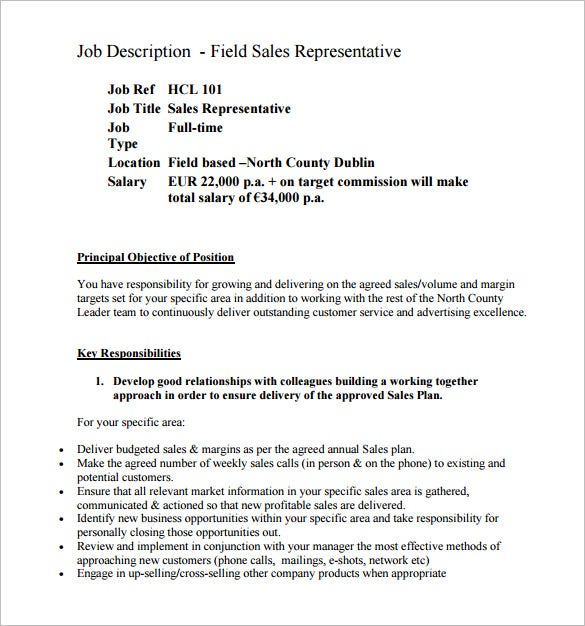 field sales representative job description pdf free template