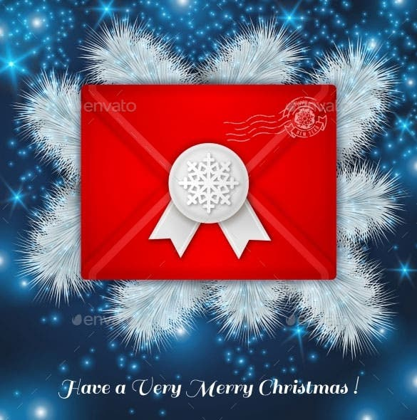 christmas red envelope with white wax seal vector eps