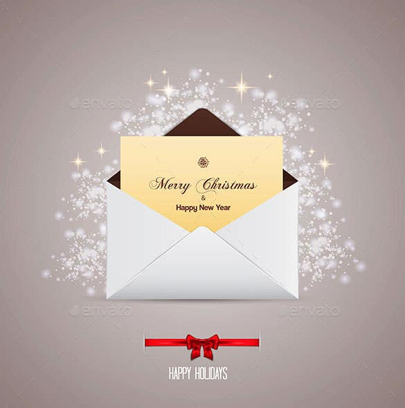envelope and greeting card merry christmas eps format