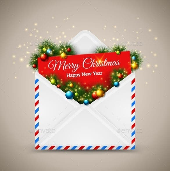 premium open envelope and card merry christmas eps download