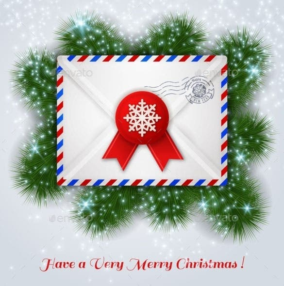 christmas white envelope with red wax seal vector