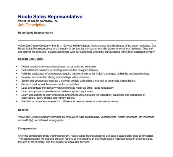 route sales representative job description free pdf download
