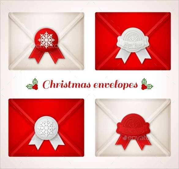 set of christmas envelope vector eps format