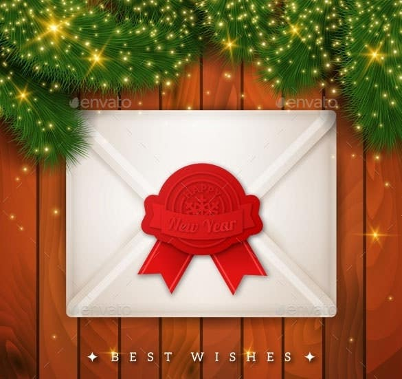 vector eps christmas new year background with envelope