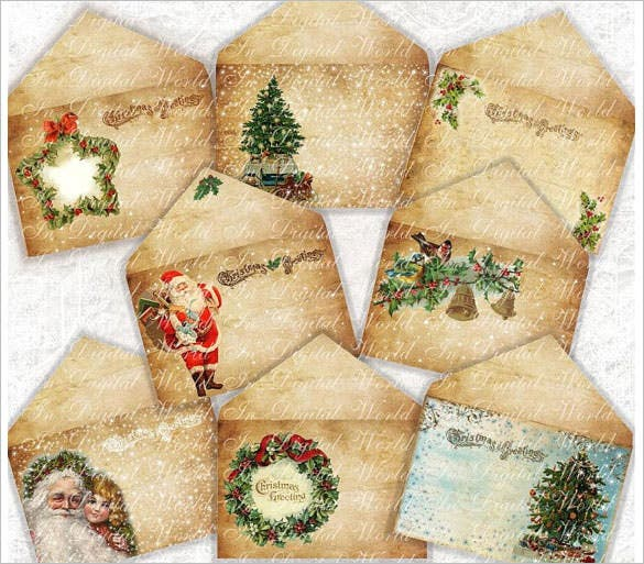 8 vintage christmas envelopes diy printable download