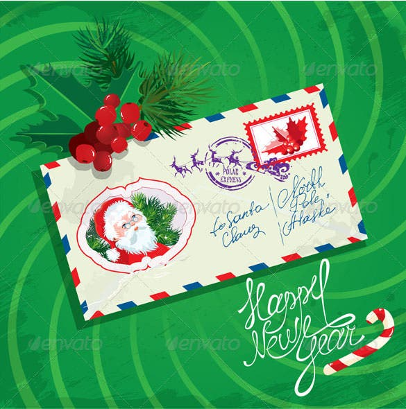 christmas and new year card with envelope christma download