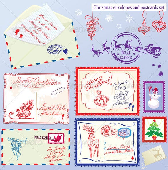 collection of christmas envelops postcards stamps eps