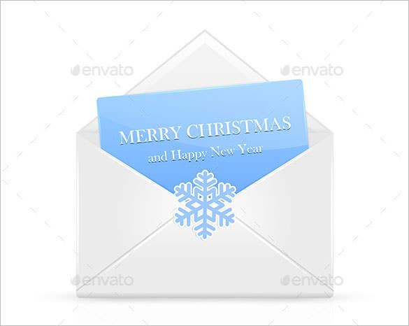 open christmas envelope with snowflake eps download