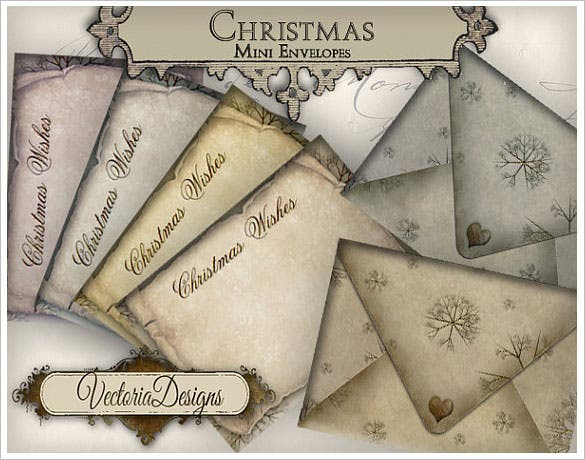 4 download mini christmas envelopes printable