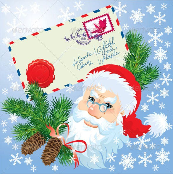 premium christmas envelope and santa claus head eps