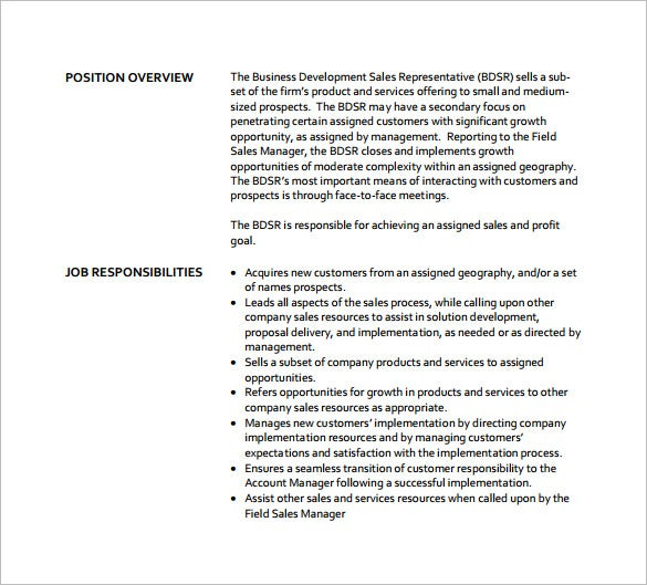 Business Development Sales Representative Job Description Free PDF Format