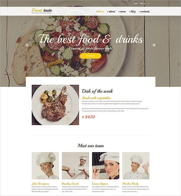 beautiful restaurant drupal html5 theme