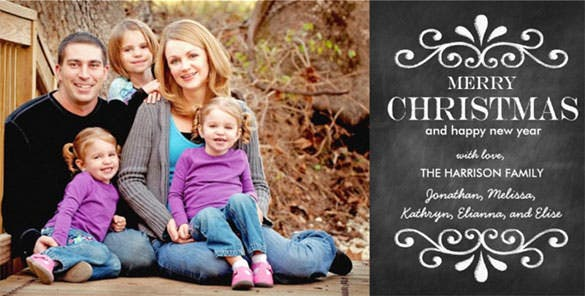 merry christmas chalkboard holiday photo card template