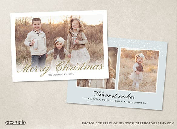 christmas photo card template psd design download