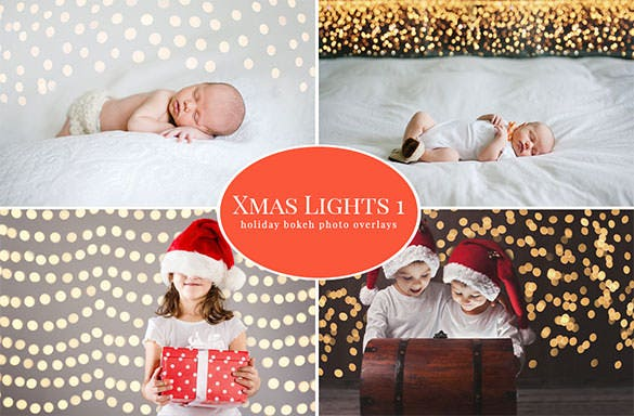 4 christmas lights photo template psd download