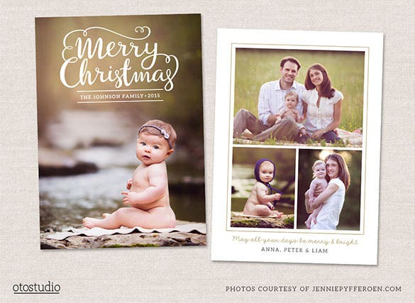 2 christmas photo card template psd layered download