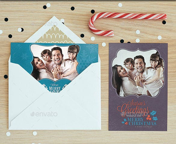 download christmas photo cards template photoshop psd